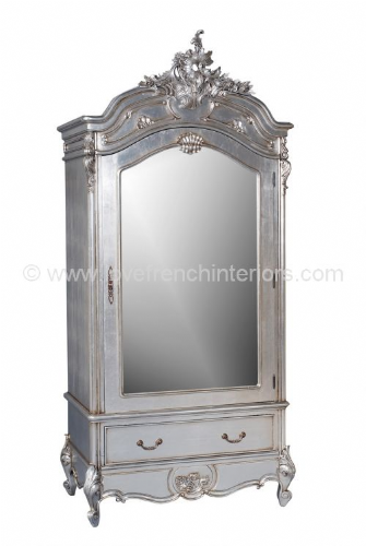 Louis Single Door Mirrored Armoire